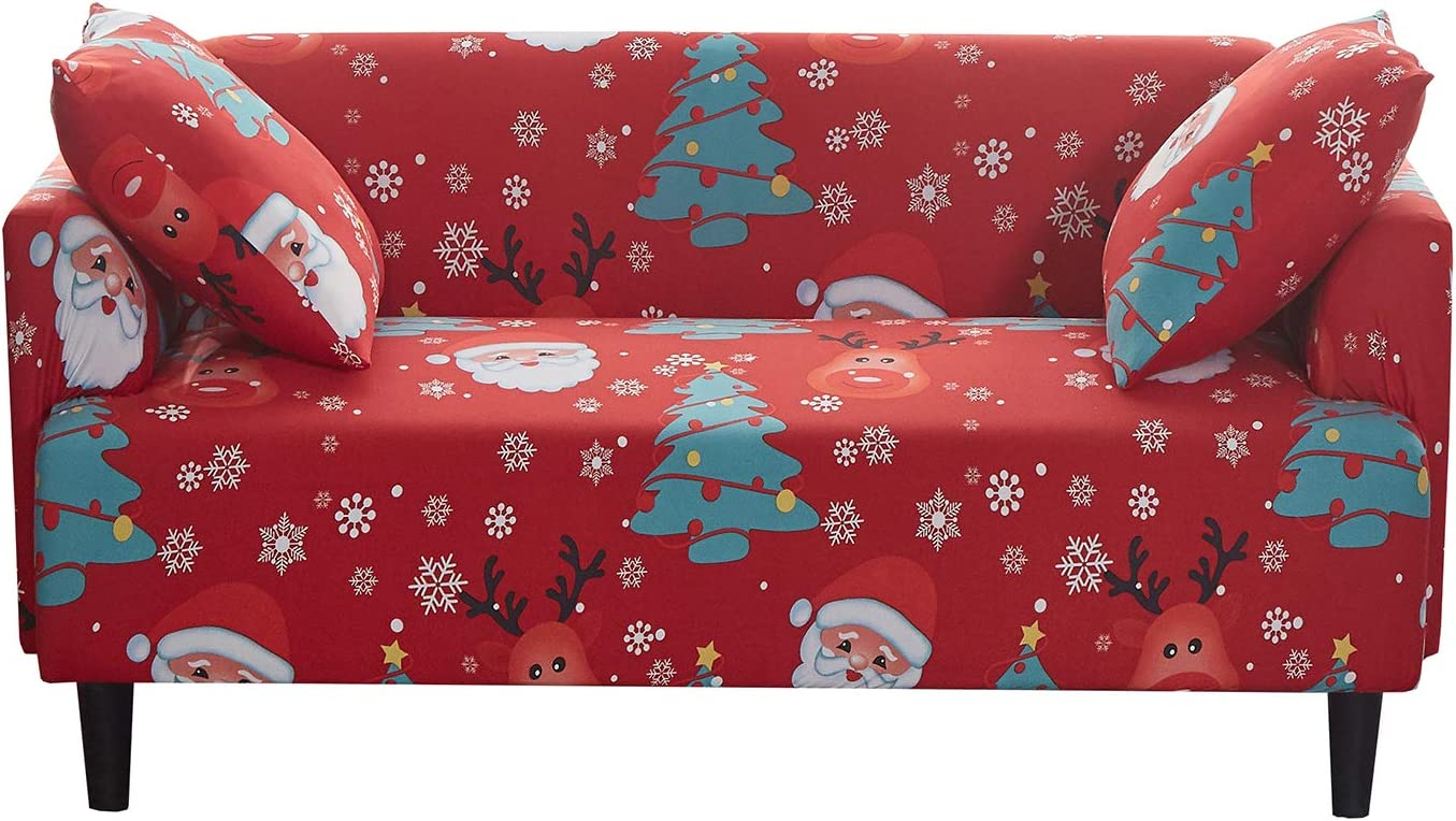 JUMJEE Printed Couch Cover Stretch Sofa Cover Sofa Slipcover Christmas Decoration Furniture Cover Protector for 3 Cushion Couch with Two Free Pillow Case(Red, 3 Seater)