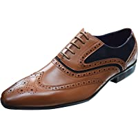Mens Smart Lace-Up Smart Office Business Party Wedding Round Toe Wingtip Formal Brogues Shoes UK Size