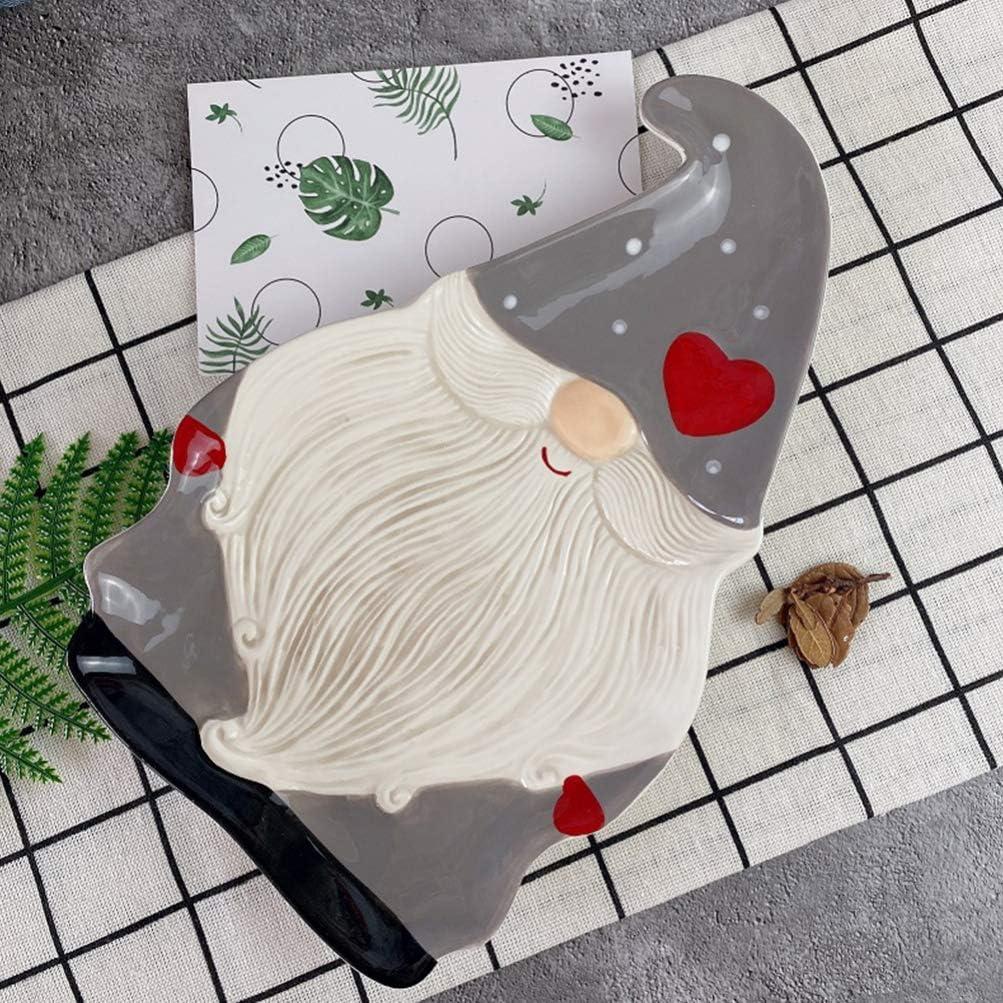 Tomaibaby Platos de Cena de Navidad Forma de Gnomo Plato de Cer/ámica para Servir Plato de Porcelana Plato Plato de Postre de Frutas Plato de Pastel Vajilla de Porcelana Oscuro