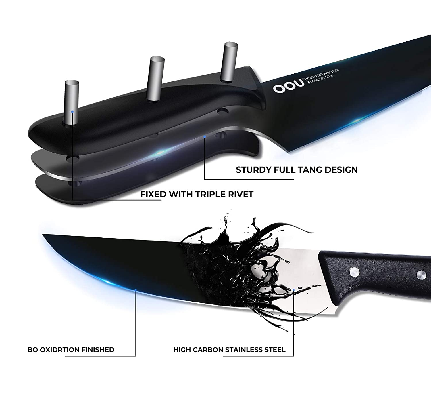 Knife Set - OOU 7 Kitchen Knife Set with Block, Stainless Steel Kitchen Knives Ultra Sharp - Full Tang with Triple Rivets, Acrylic Stand, Ergonomic ...