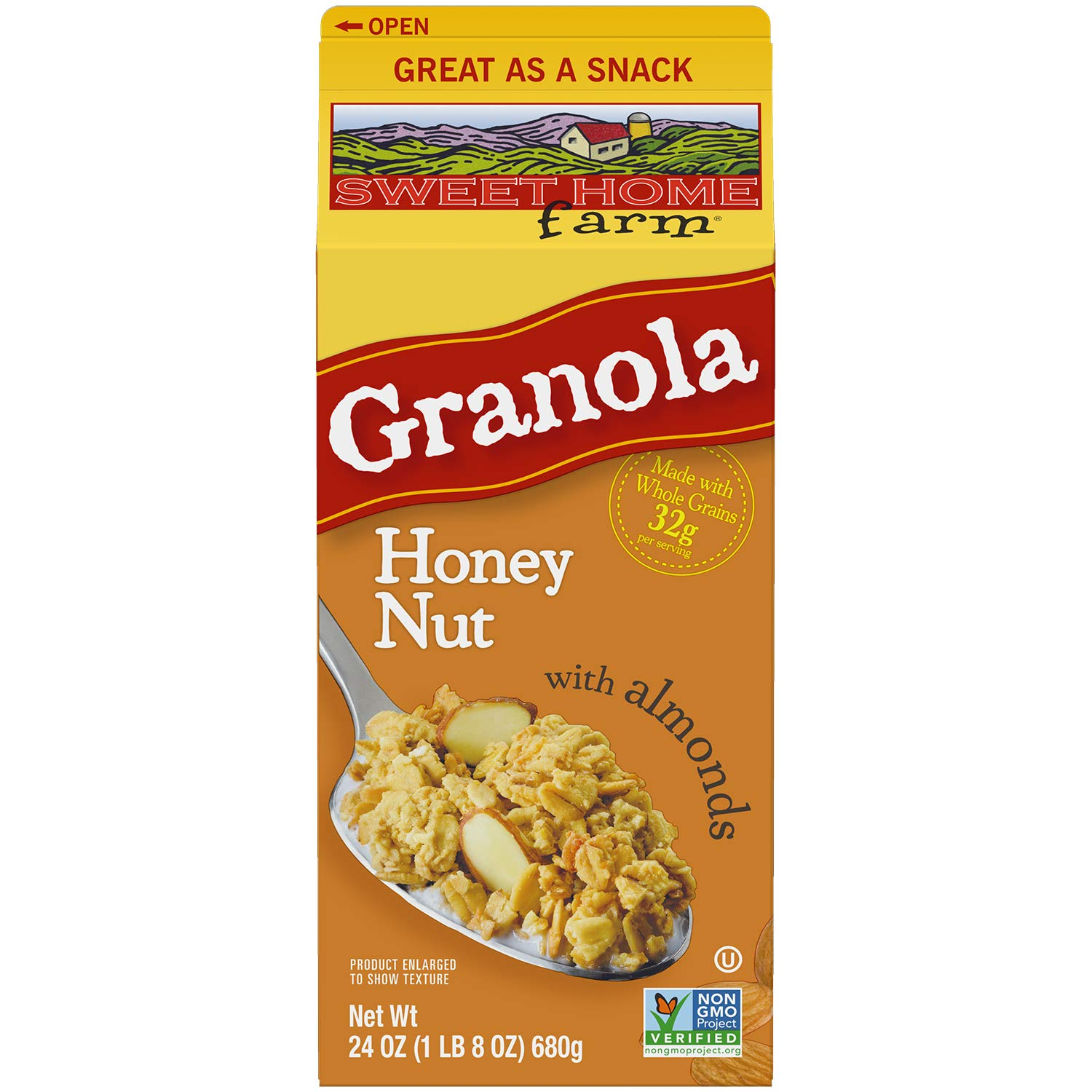 Sweet Home Farm Honey Nut with Almonds Granola, Made with Whole Grain, Non-GMO Project Verified, Kosher, Vegan, 24 Oz Recyclable Carton (Pack of 8)
