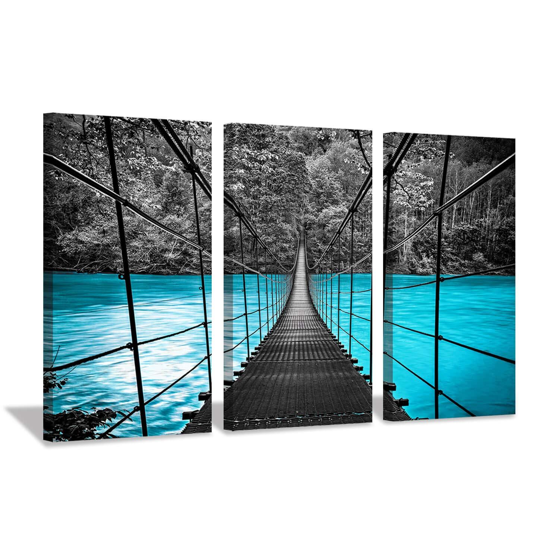 "Ocean Pier Landscape Artwork Prints: Black Suspension Metal Sea Bridge in Blue Coastline, Beach Sunny Wall Art on Wrapped Canvas(16""x26""x3, Turquoise Paintings)"