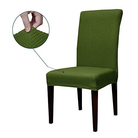 Subrtex Jacquard Stretch Dining Room Chair Slipcovers 2 Green