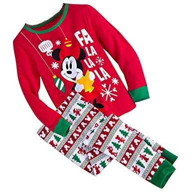 minnie mouse disney store girls cotton holiday christmas pajama set
