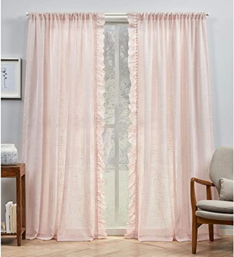Exclusive Home Curtains Jacinta Side Ruffle Flippable Sheer Rod Pocket Curtain Panel Pair