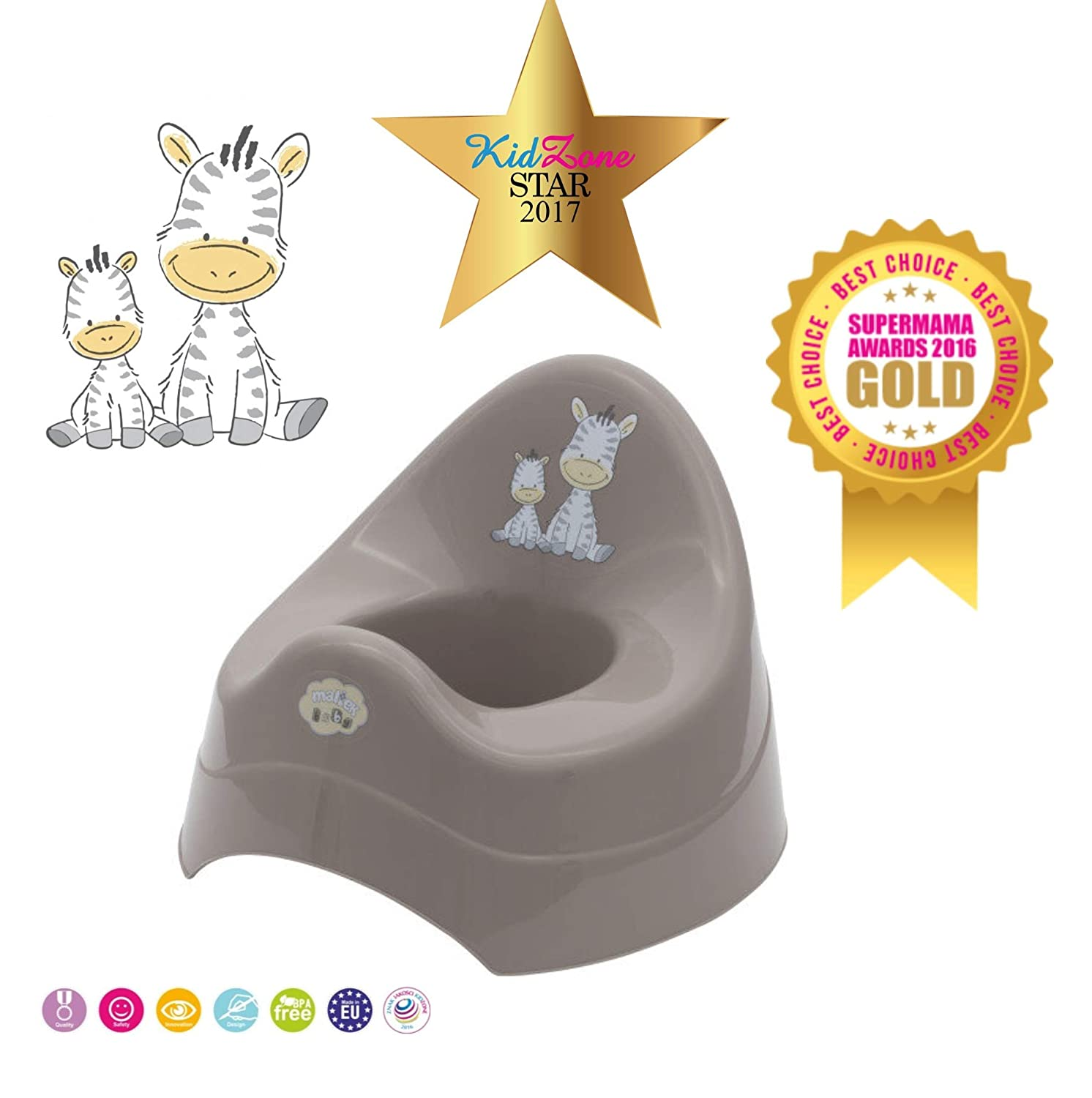 Baby Kids Toddler Plastic Potty Toilet Seat Chair Trainer Training Seat Feet for Boys and Girls Brown Zebra