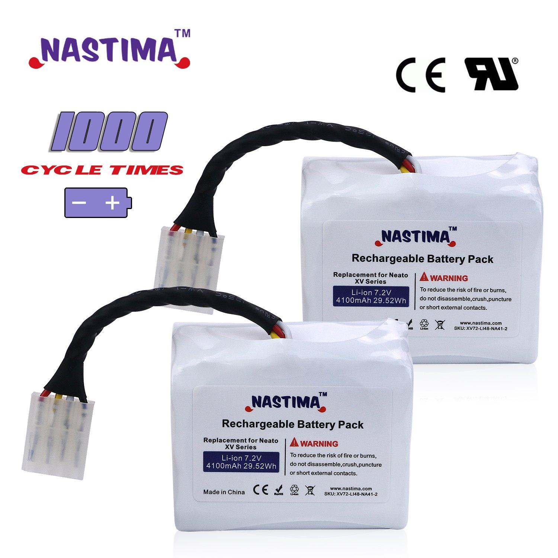 nastima iones de litio recargable 4100 mAh) para Neato XV-11 XV-12 XV-14 XV-15 XV-21 XV-25, XV Essential, XV Signature Pro - Robot aspirador, ciclo de 1000 ...