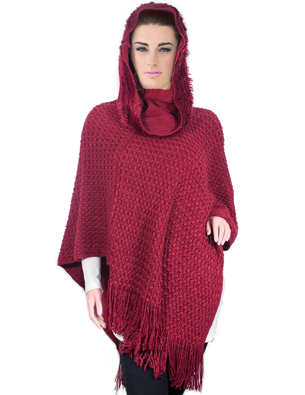 c57417bc669 Unique cross stitch knitted poncho with warm faux fur trim cowl neck hoodie  ...