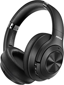 Mpow H21 Hybrid Noise Cancelling Headphones, 65H Playtime Wireless Headphones w/Built-in Mic, Bluetooth 5.0, HD Stereo Sound, Wired/Wireless Headset for Travel, Online Class, Home Office, TV