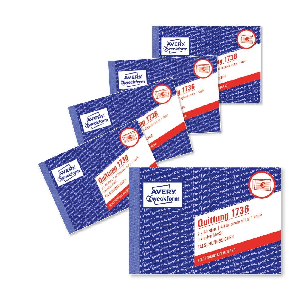 amazon avery zweckform 1736 5 a6レシート用紙パッド2 x 40シート5