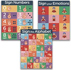 "ASL Kids Sign Language Posters - 3 16x20"" UV Gloss Laminate Charts"