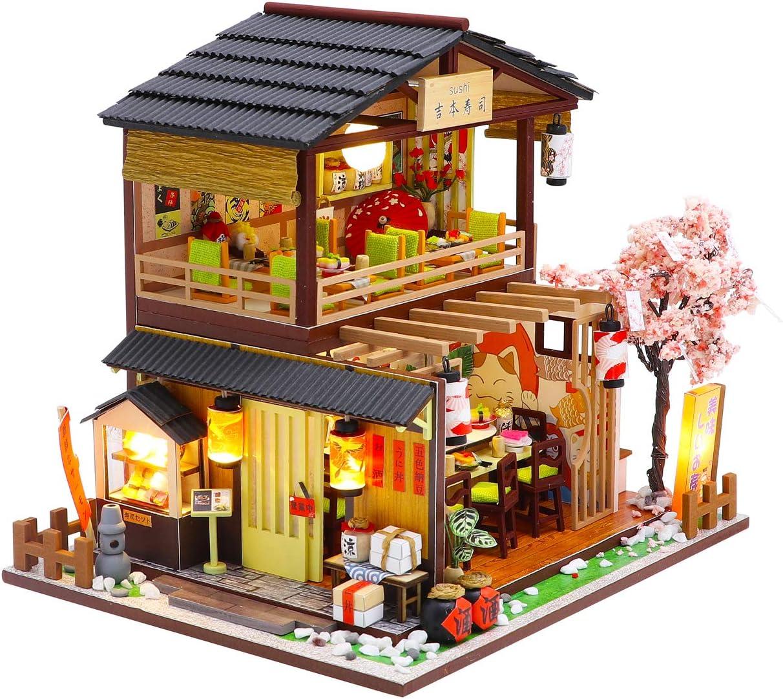 Japanese Sushi Shop Cool Beans Boutique Miniature DIY Dollhouse Kit Wooden Japanese Sushi Shop