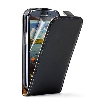 Membrane Ultra Slim Negro Funda de Cuero Compatible para Samsung Galaxy S3 (GT-i9300 / I9300I S3 Neo/Galaxy SIII Neo+ / GT-i9308) - Flip Case Cover ...