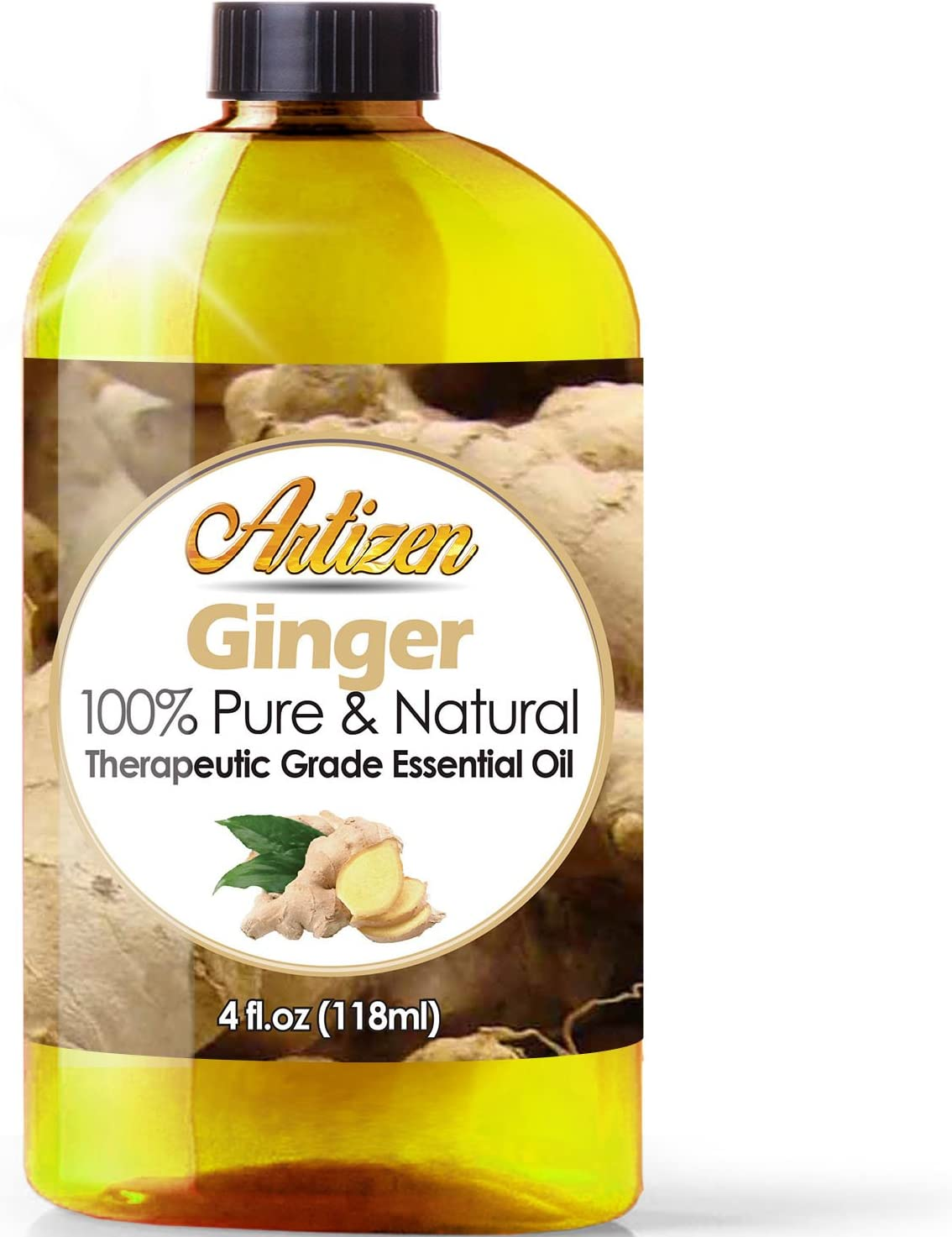 Artizen Ginger Essential Oil (100% Pure & Natural - Undiluted) Therapeutic Grade - Huge 4oz Bottle - Perfect for Aromatherapy, Relaxation, Skin Therapy & More!