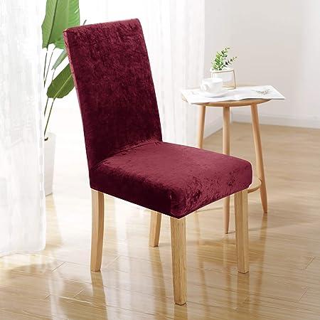 UMI. Essentials Extensible Housse de Chaise Salon en Velours Décorative pour Protection de Chaise Tissu Élastique 2 Pièces Rouge 46x46x60cm