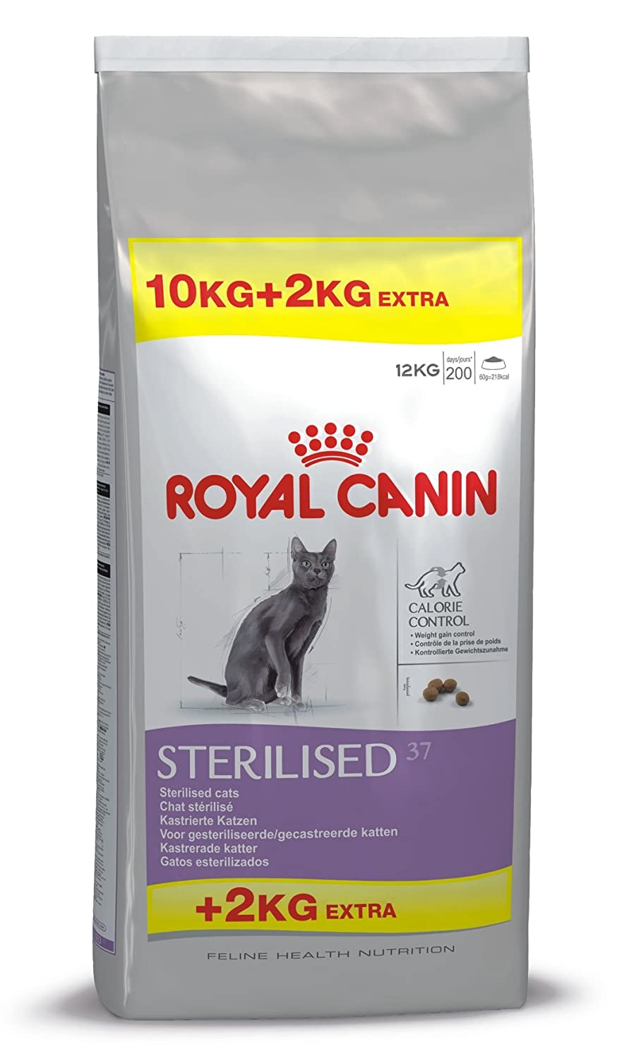 ROYAL CANIN Feline Health Nutrition Sterilised 37 Saco DE 10 + 2 Kg: Amazon.es: Productos para mascotas