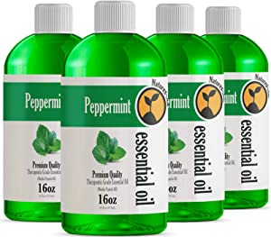 4 Pack 16oz - Bulk Size Peppermint Essential Oil (64 Ounce Total) - Therapeutic Grade Essential Oil - 4 Pack of 16 Fl Oz Bottles