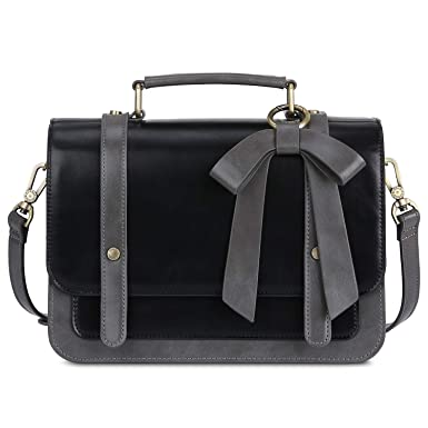 ECOSUSI Women s Small Vintage Purse Briefcase PU Leather Crossbody Satchel  Bag with Detachable Bow 3c39a0b94