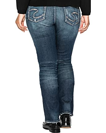 9fa119abf7c Silver Jeans Co. Women s Plus Size Elyse Relaxed Fit Mid Rise Straight Leg  Jeans