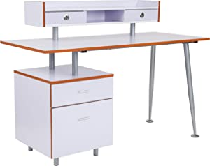 Flash Furniture Piedmont Home and Office Desk with 2 Drawers and Top Storage Shelf in White Finish
