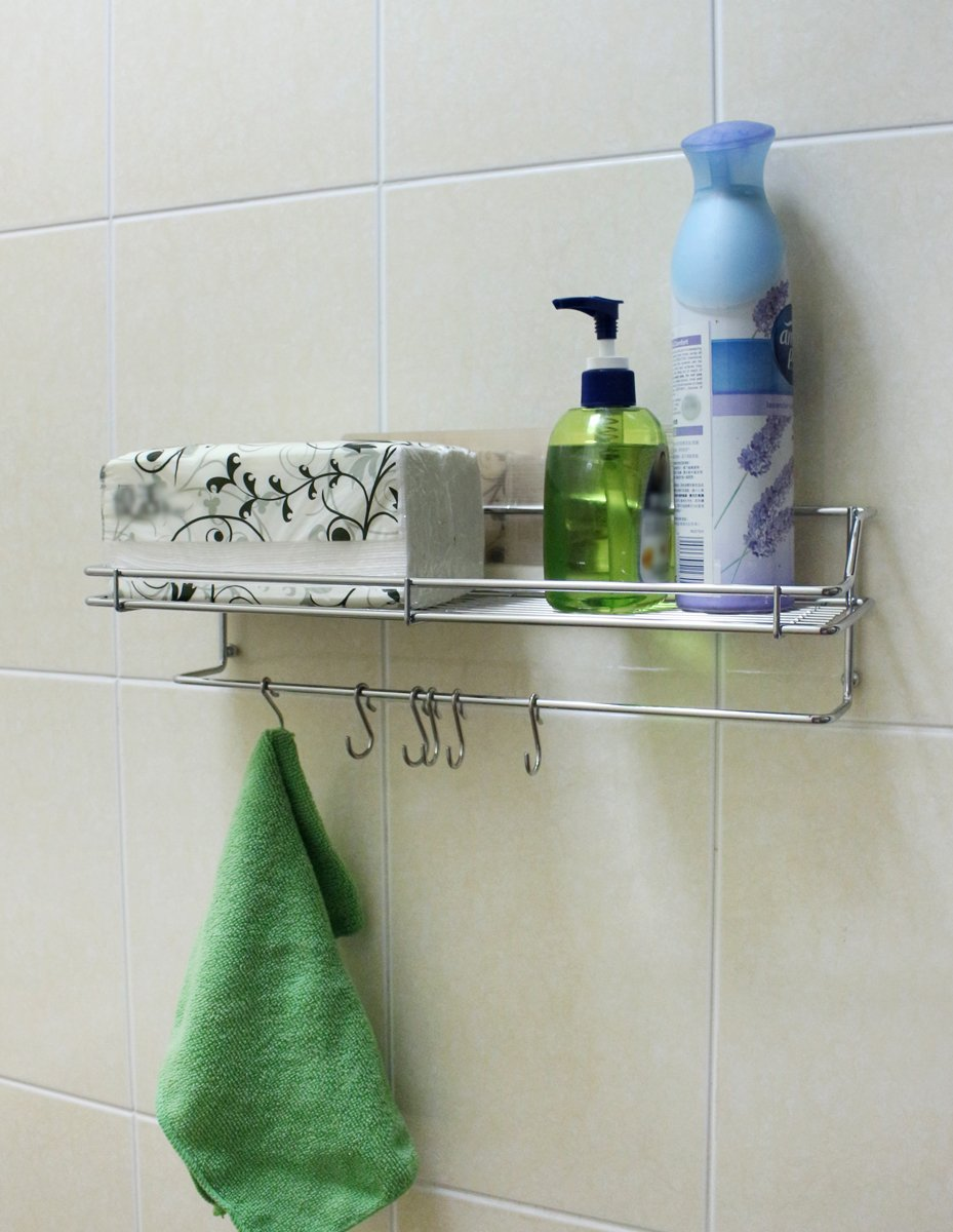 Drill-Free| Removable| Reusable Adhesive Wall Rack | Shower Caddy Basket | Kitchen Spice Rack | Behind the Door Accessory Holder - Rack with 6 Hooks