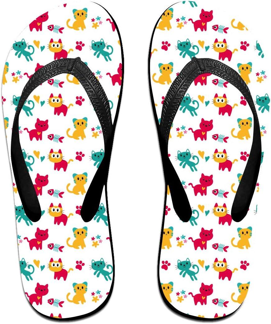 GQOP Unisex Flip Flops Cute Cats Cartoon Personalized Thong Sandals Beach Sandals