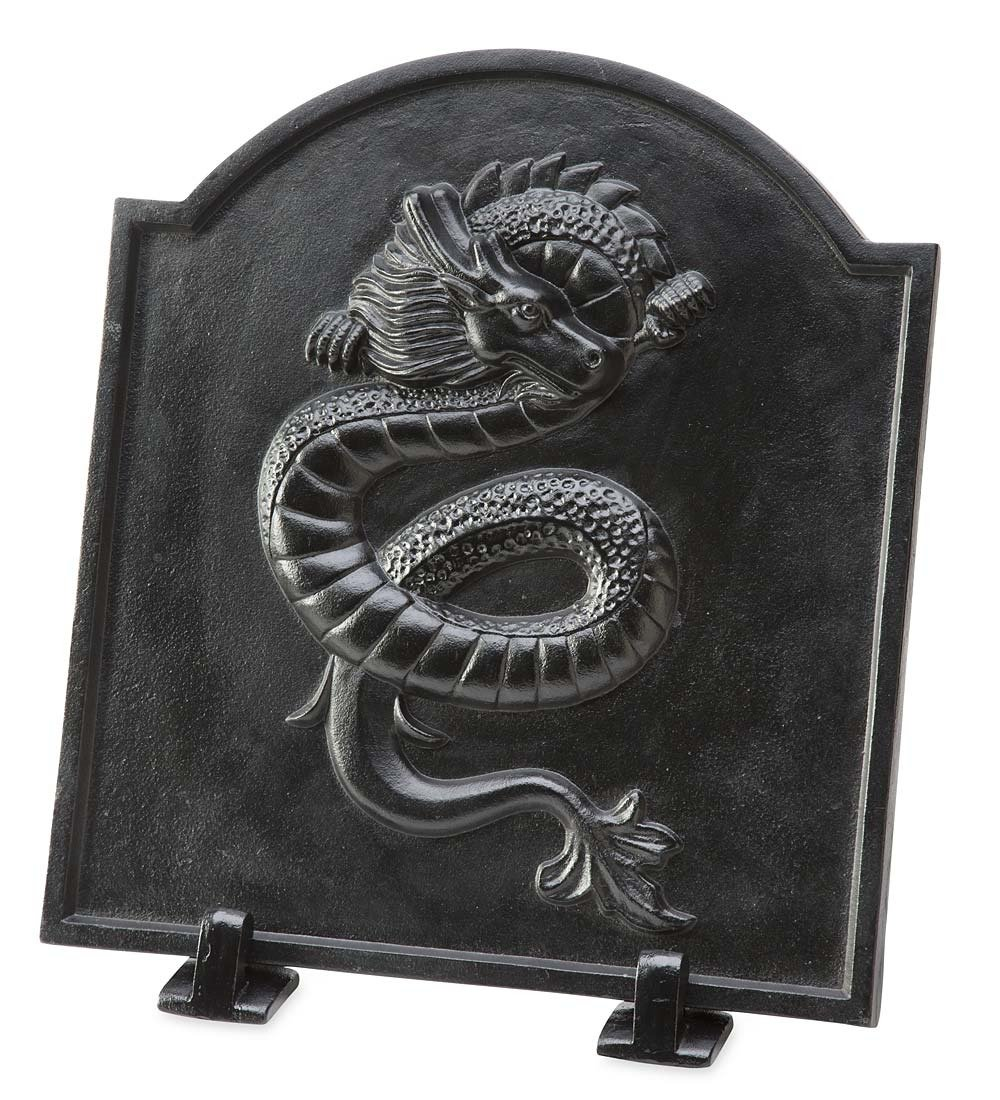 Plow & Hearth Cast Iron Fireback with Dragon Design by Plow & Hearth