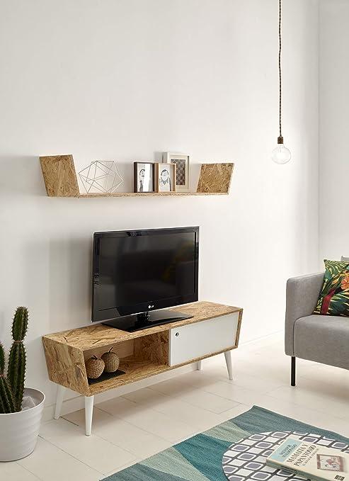 HOGAR24 ES Mueble TV con Estante Superior Madera Reciclada ...