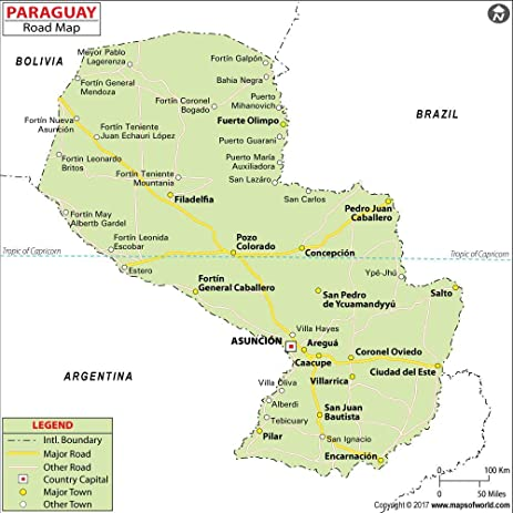 Amazoncom Paraguay Highway Map 36 W x 36 H Office Products
