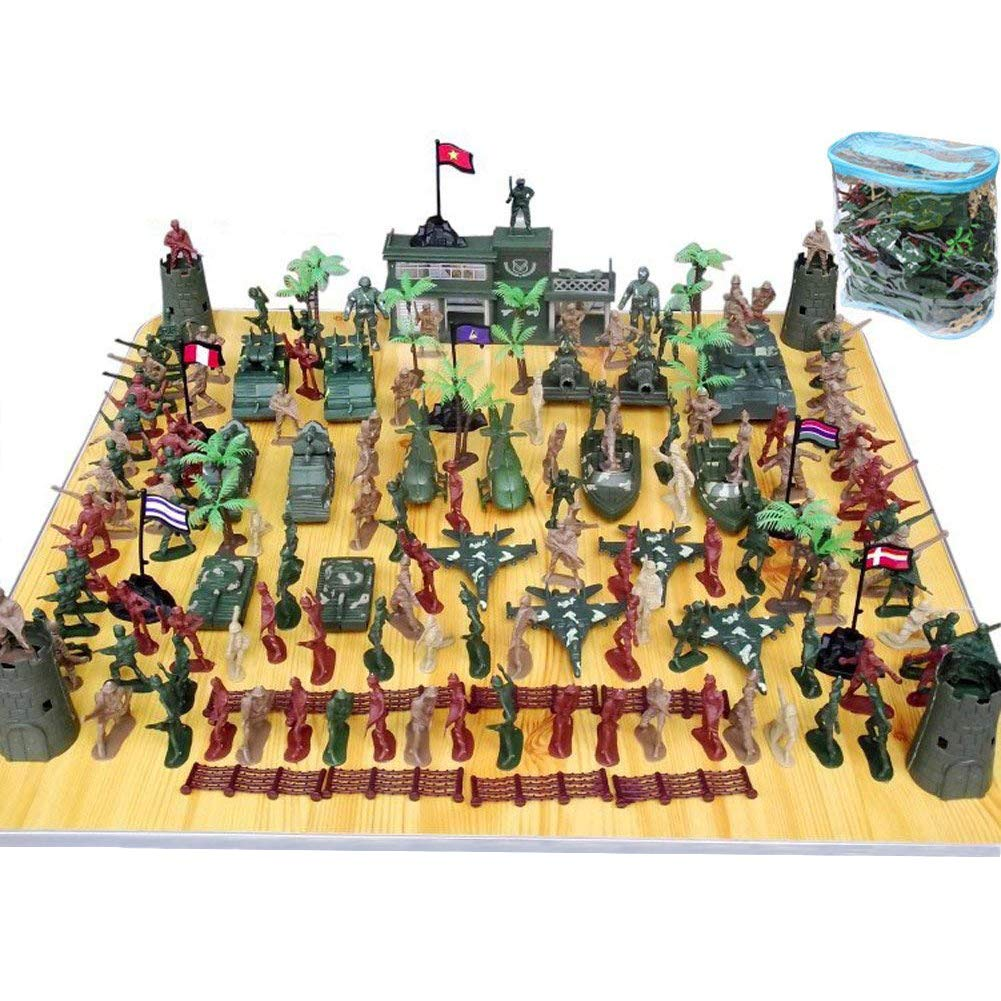 146 PCS Army Soldiers, Battle Group Army Man Toy Soldiers Playset Action Figures