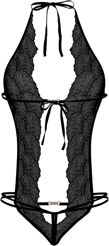 Amorbella Body da Donna Deep V Lingerie Body Backless Lace Babydoll Biancheria da Notte Rosso Red S