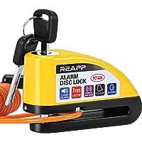 REAPP Candado Moto Disco con Alarma 110 DB, Antirrobo Moto Freno 7mm con Accesorios 1.5m Cable Recordatorio y Candado…