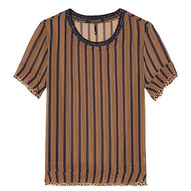 b8d1bbba719361 Amazon.com: Maison Scotch Sheer Printed Ruffle Womens Top Combo A S ...