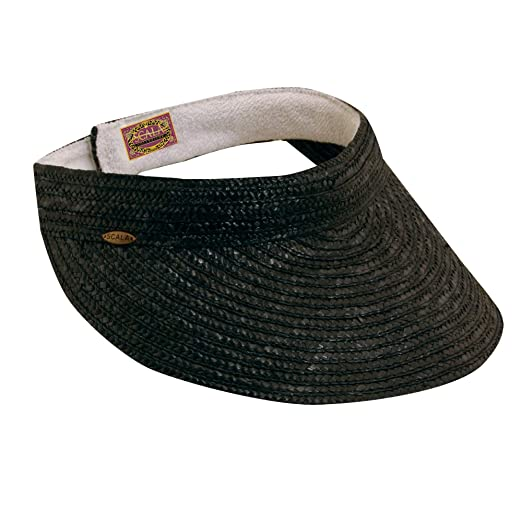 SCALA Women s Sewn Braid Visor (Black) at Amazon Women s Clothing store   Visors Headwear 8e0cd512b3ba