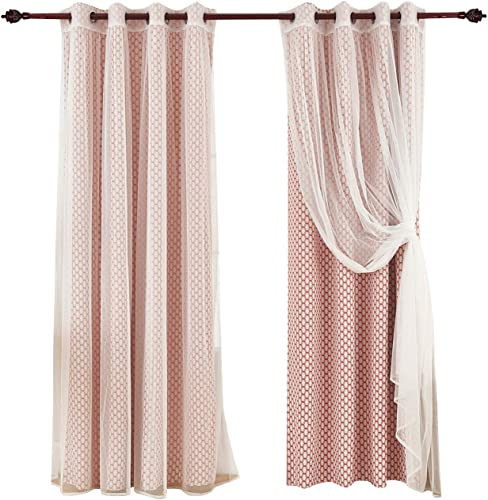 Deconovo Energy Saving Set Red Moroccan Print White Sheer Curtain