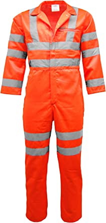 HI VIS REFLECTIVE OVERALLS WORKWEAR SAFETY BOILER SUIT GARAGE COVERALL RAILWAY