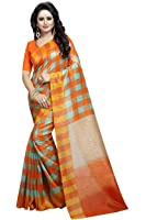 J B Fashion Women's cotton multi Saree With Blouse Piece