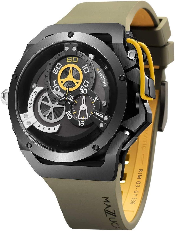 Mazzucato rim orologio da uomo reversibile automatico e cronografo con cinturino in gomma fkm khaki 04-
