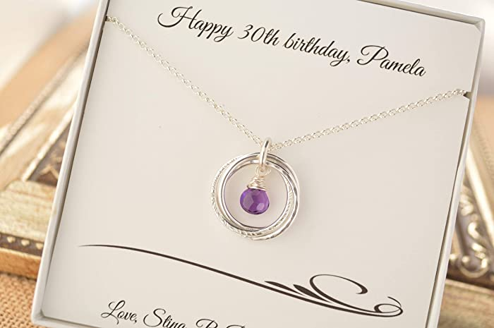 Amazon 30th Birthday Gift For Daughter 3 Rings Necklace