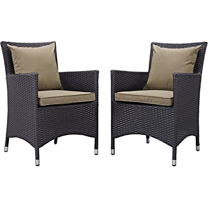 Amazon.com: Set de dos (2) tela patio sillas de comedor con ...