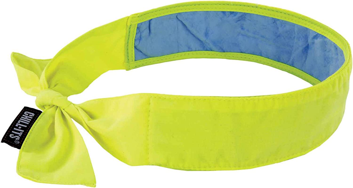 Cooling Bandana, Lime, Lined with Evaporative PVA Material for Fast Cooling Relief, Tie for Adjustable Fit, Ergodyne 6700CT