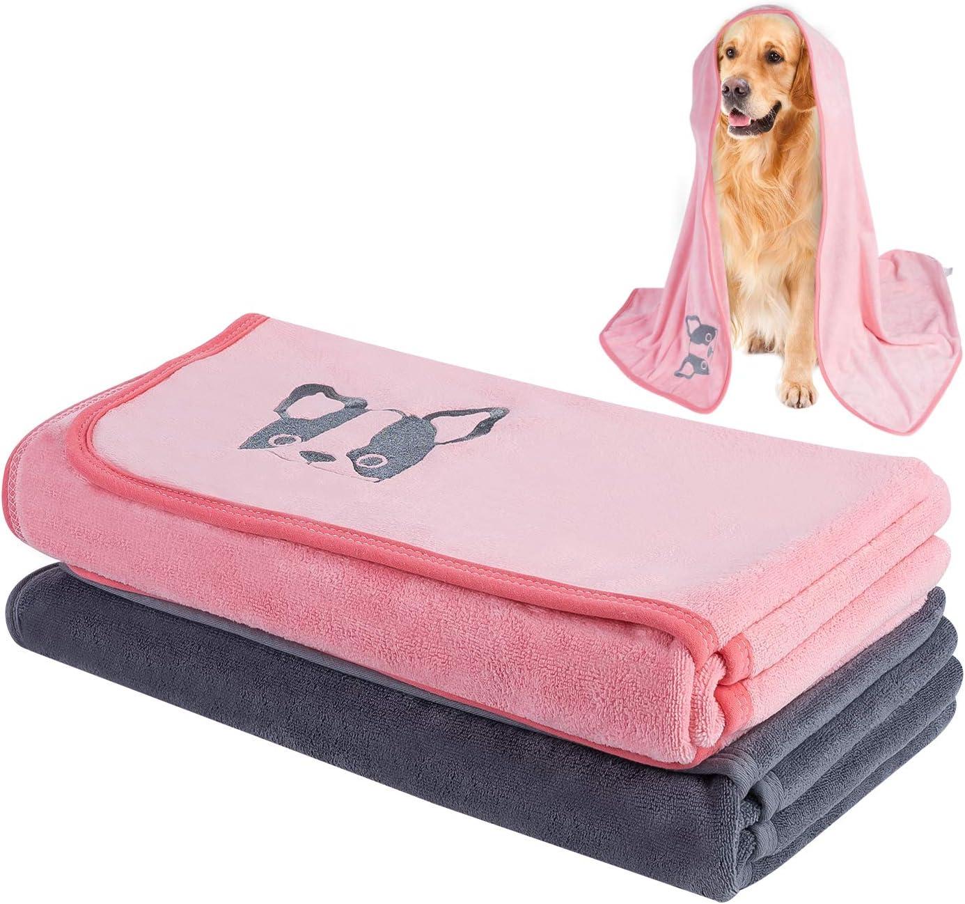 TAIYUNWEI Toallas para Mascotas, 2 Piezas Toalla de Secado Rápido para Perro,Toallas Absorbentes para Mascotas|Toalla de Baño para Mascotas|Secado Rápido, Suaves y Cómodas (140x70cm)