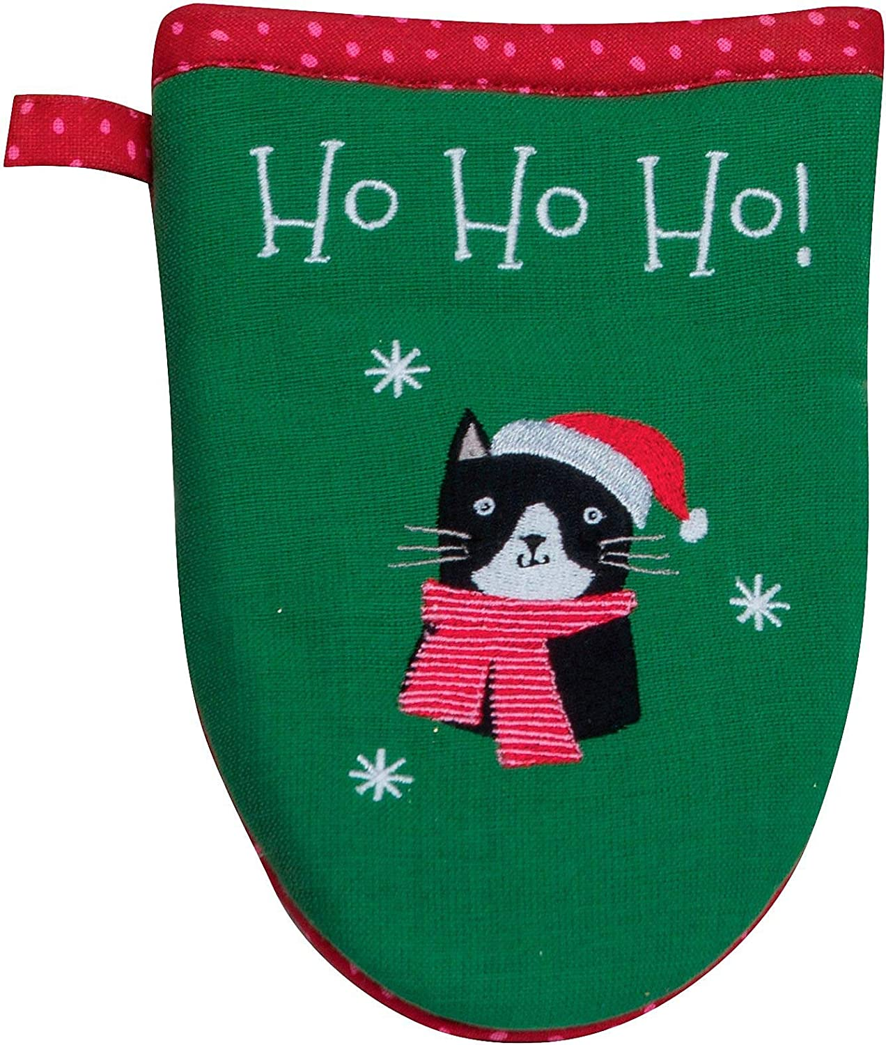 Kay Dee Ho Ho Ho Red Green Cat Embroidered Christmas 11 inch Cotton Decorative Grabber Mitt