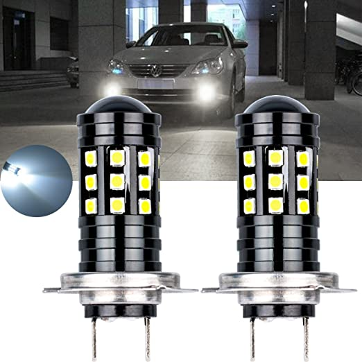 Amazon.com: NGCAT Super Bright 2PCS 2700 Lumens 3030 27SMD H7 Lens LED Bulbs for DRL Bulbs Fog Lights Day Running Light Lamp 12V-24V 6000K (White): ...