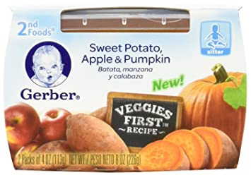Gerber 2nd Foods Sweet Potato Apple Pumpkin Baby Food, 2 count, 8 oz,