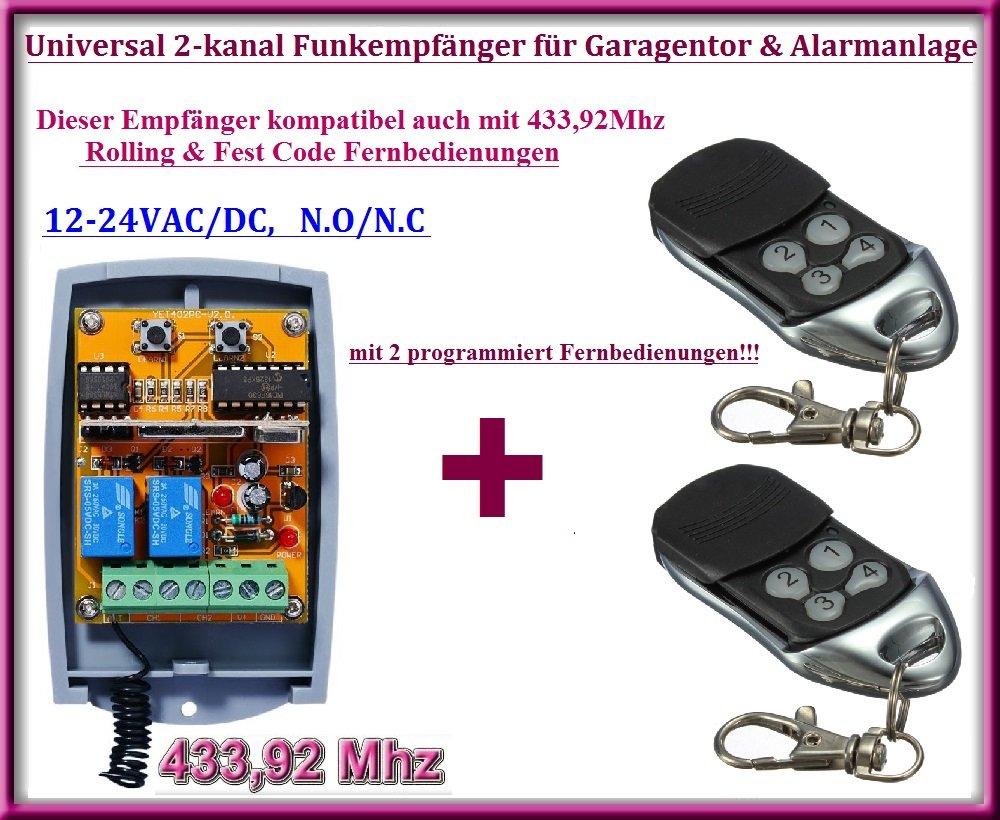 Universal 2-kanal rolling code Funkempfänger + 2 handsender, Zu betreiben jede Garage Tor Automatisierung / Alarmanlage / einige andere Geräte 12-24V DC, 433,92MHz NO/NC