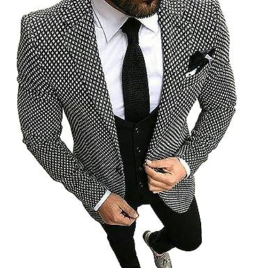 5ada15550 Premium White&Black Grid Plaid Slim Fit Check Striped Tuxedo Prom Wedding  Groom Suits Blazers Jacket Coat at Amazon Men's Clothing store: