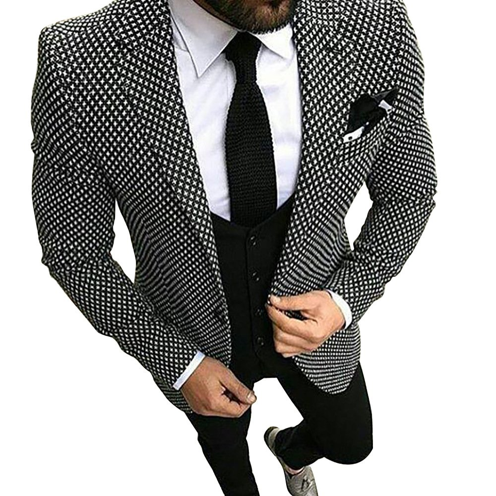 Premium White&Black Grid Plaid Slim Fit Check Houndstooth Tuxedo Prom Wedding Groom Suits Blazers Jacket Coat