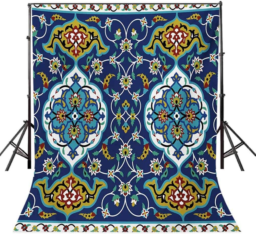 Authentic Oriental Motif with Vintage Byzantine Style Tile Effects Artwork Background for Baby Shower Birthday Wedding Bridal Shower Party Decoration Photo Studio 6.5x10 FT Photography Backdrop