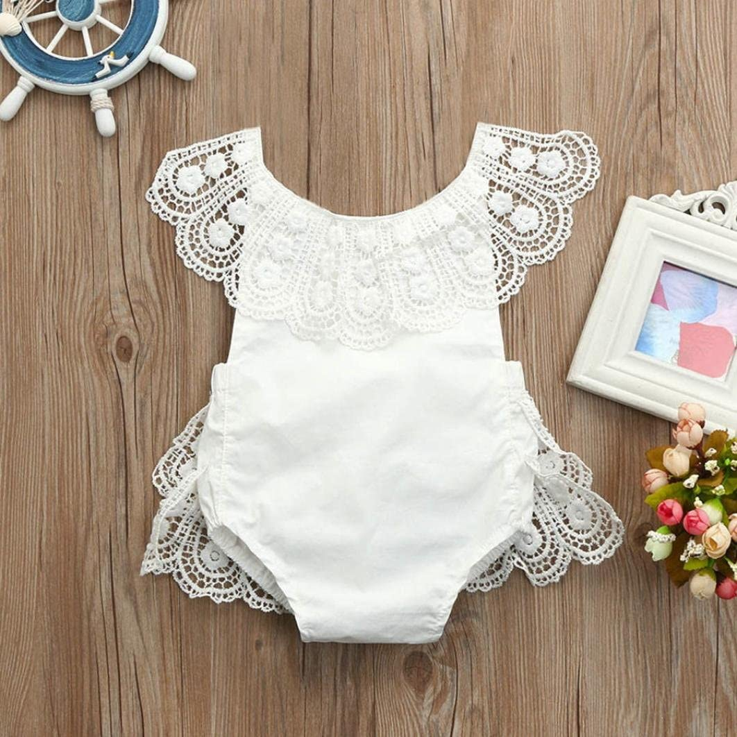 Hevoiok Newborn Infant Toddler Baby Girls Romper Cute Sweet White Lace Strap Sleeveless Princess Jumpsuit